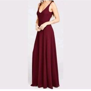 Show Me Your Mumu Jen Maxi M Dress Merlot Chiffon